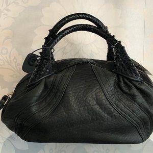 FENDI Black Leather Spiked Top Handle Bowler Bag